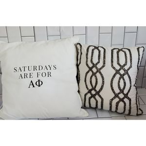 Lot of 2 White Decor Pillows #1 Alpha Phi Frater